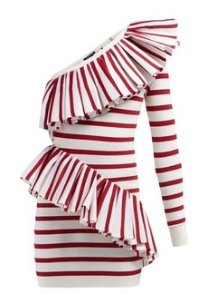 Balmain Asymmetric ruffle-trimmed striped mini dress