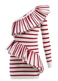 Balmain Asymmetric ruffle-trimmed striped mini dress