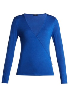 Balmain Asymmetric-wrap wool and silk-blend top