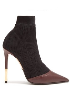 Balmain Aurore point-toe honeycomb-knit ankle boots