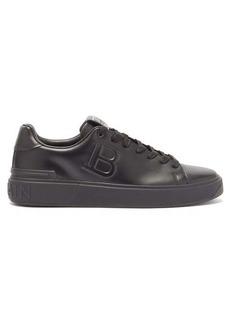 Balmain B-Court logo-embossed leather trainers