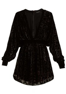 Balmain Batwing-sleeved fil-coupé velvet mini dress
