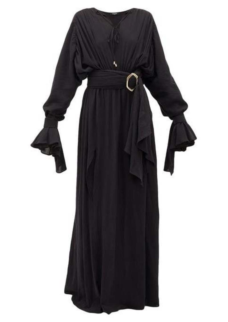 Balmain Belted cotton-gauze maxi dress