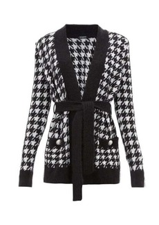 Balmain Belted long-line houndstooth cardigan