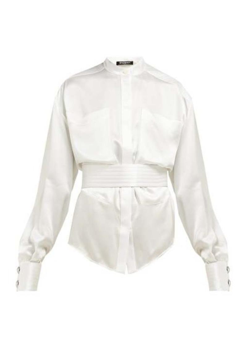 Balmain Belted silk-satin blouse