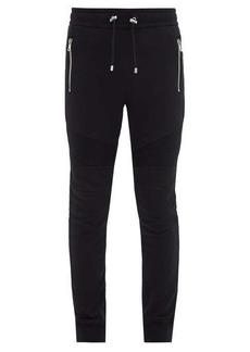 Balmain Biker cotton-jersey track pants