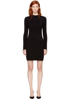Balmain Black Lurex Turtleneck Mini Dress