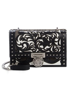 Balmain Box Laser Cut Floral Leather Shoulder Bag