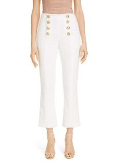 Balmain Button Detail Cotton Blend Tweed Crop Flare Pants