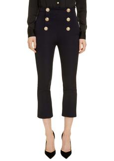 Balmain Button Detail Crop Flare Wool Pants