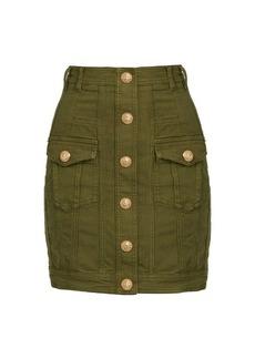 Balmain Button-detail stretch-denim mini skirt