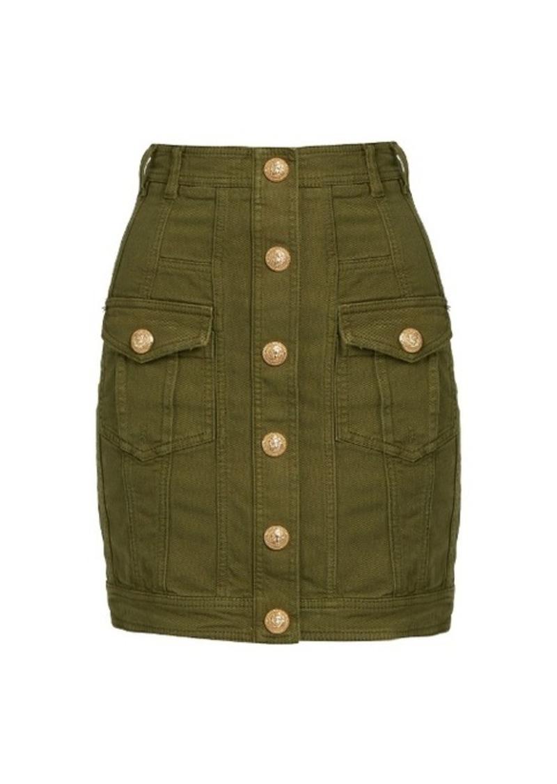 7c68fdc6f7 Balmain Balmain Button-detail stretch-denim mini skirt | Skirts