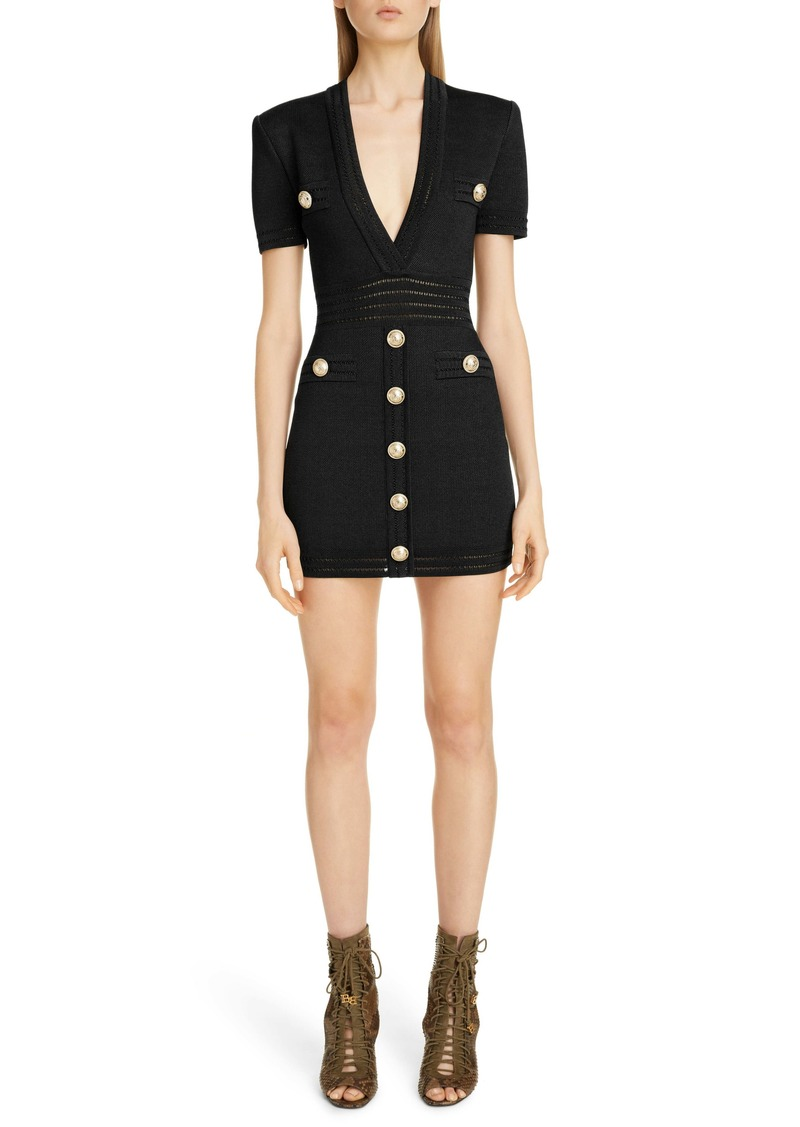 Balmain Button Detail Sweater Minidress