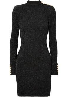 Button-embellished metallic stretch-knit mini dress