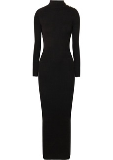 Balmain Button-embellished ribbed merino wool maxi dress