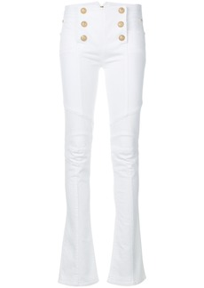 Balmain button-embellished flared jeans - White