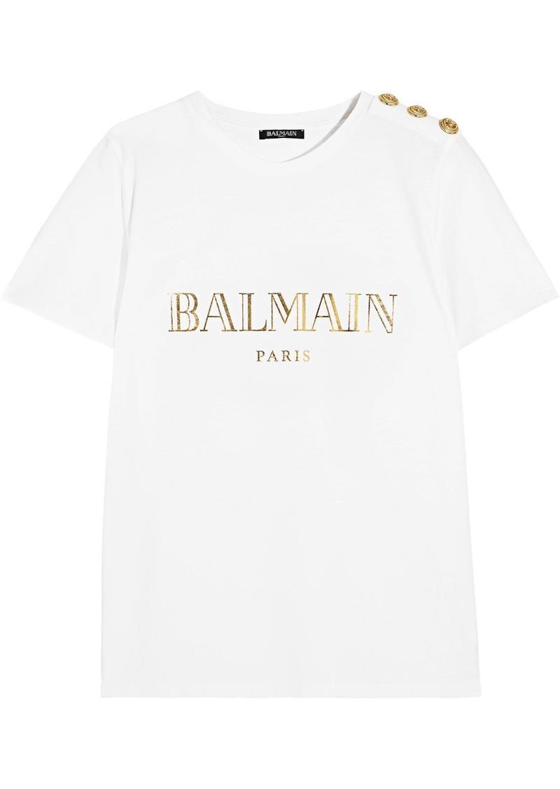 72738afb Balmain Balmain Button-embellished printed cotton-jersey T-shirt ...