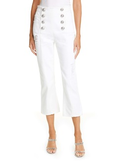 Balmain Button Front Crop Flare Jeans (Blanc Optique)