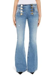 Balmain Button Front Flare Jeans