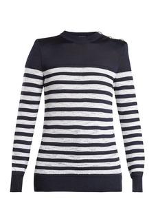 Balmain Button-shoulder crew-neck striped sweater