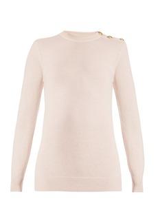 Balmain Button-shoulder crew-neck wool-blend sweater