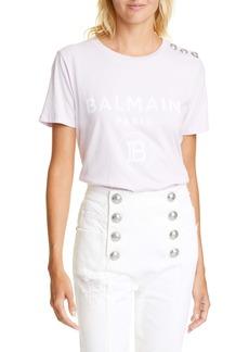 Balmain Button Shoulder Logo Tee