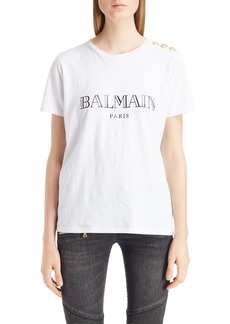 Balmain Button Shoulder Logo Tee