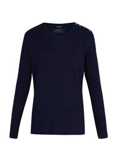 Balmain Button-shoulder long-sleeved cotton T-shirt
