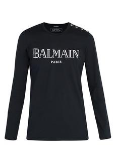 Balmain Button-shoulder Paris logo T-shirt