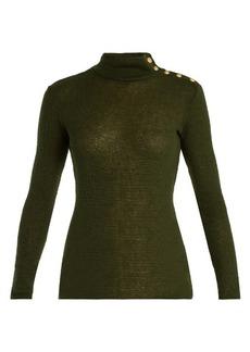 Balmain Button-shoulder roll-neck sweater