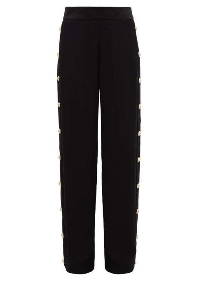 Balmain Buttoned crepe wide-leg trousers