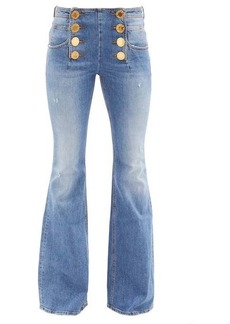 Balmain Buttoned high-rise flared-leg jeans