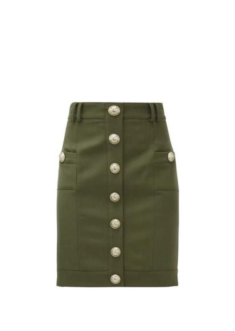 Balmain Buttoned high-rise wool mini skirt