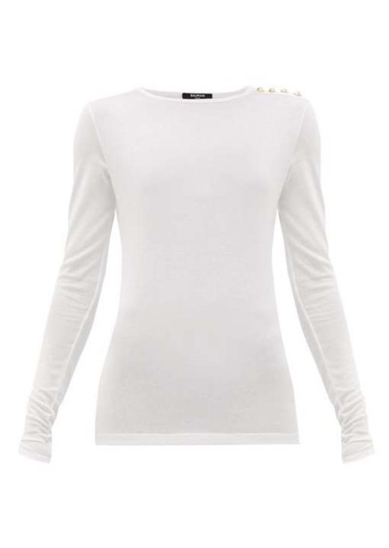 Balmain Buttoned jersey T-shirt