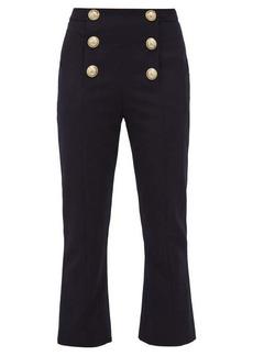 Balmain Buttoned kick-flare wool-twill trousers
