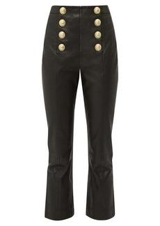 Balmain Buttoned leather kick-flare trousers
