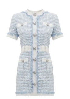 Balmain Buttoned sequin-embroidered tweed mini dress