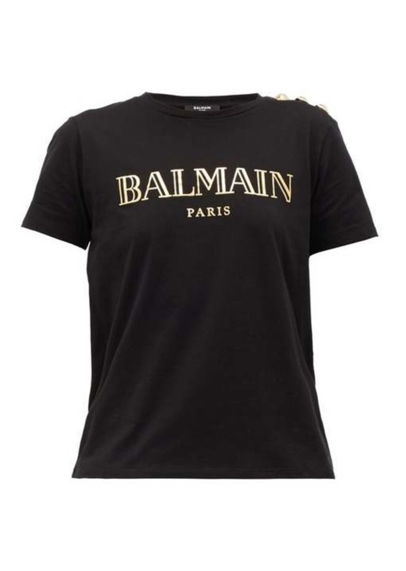 Balmain Buttoned-shoulder logo-print cotton T-shirt