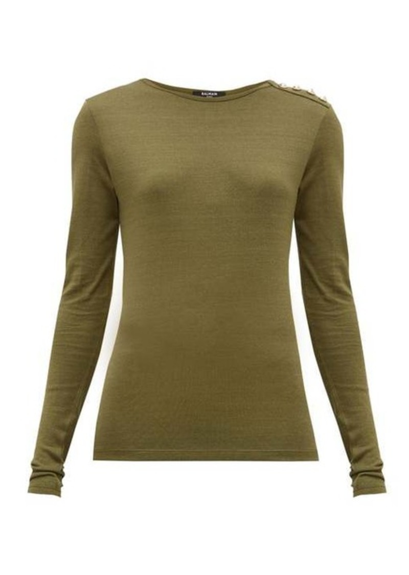Balmain Buttoned-shoulder long-sleeve top