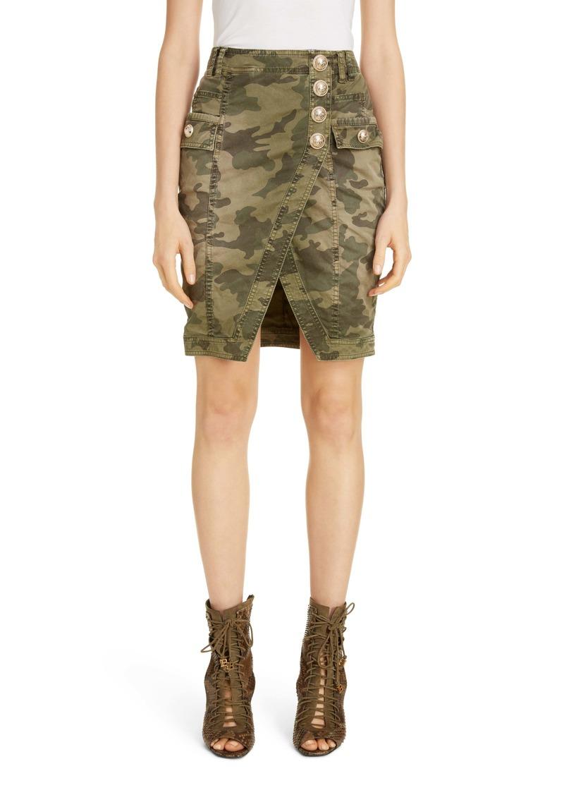 Balmain Camouflage Denim Faux Wrap Miniskirt
