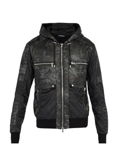 Balmain Camouflage-print hooded bomber jacket