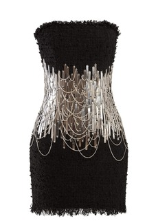 Balmain Chain and metal-embellished tweed mini dress
