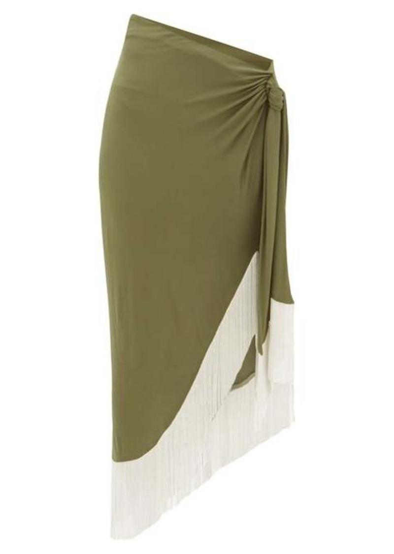 Balmain Chain-fringed wrap jersey skirt