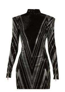 Balmain Chevron crystal-embellished mini dress