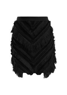 Balmain Chevron-fringed cotton-blend mini skirt