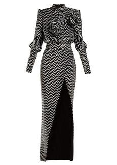 Balmain Chevron-striped bow-embellished velvet gown