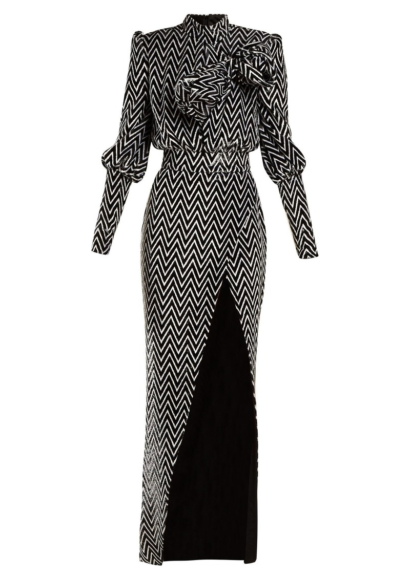 Balmain Chevron-striped bow-embellished velvet gown
