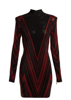 Balmain Chevron-stripe crystal-embellished mini dress
