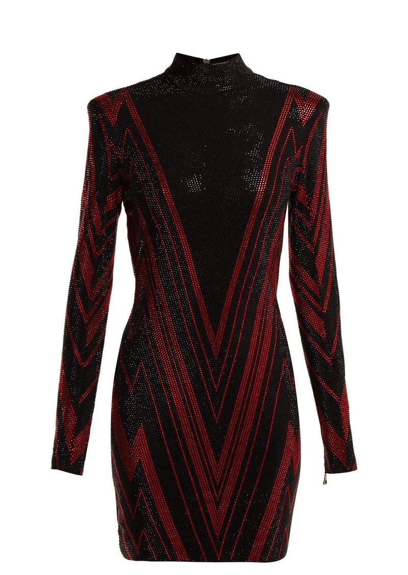 b83c0e6e Balmain Balmain Chevron-stripe crystal-embellished mini dress | Dresses