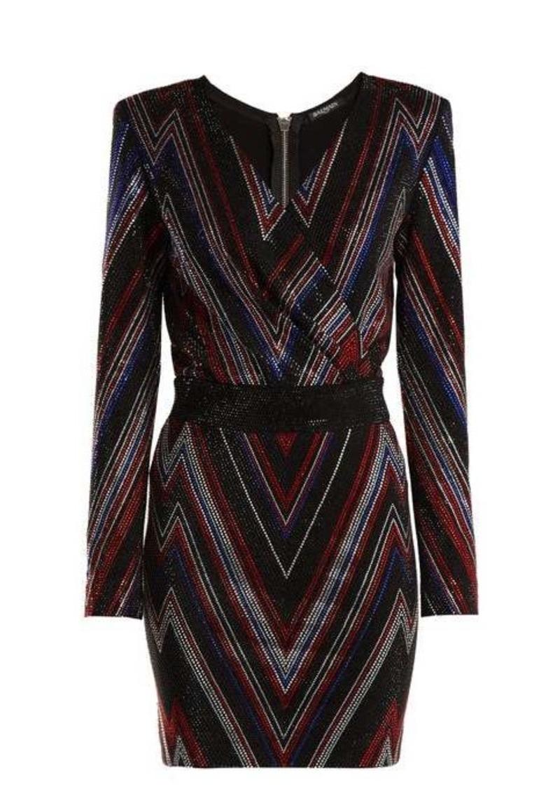 Balmain Chevron-stripe mini dress